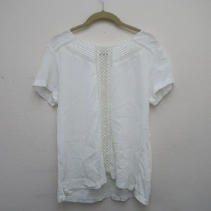 Ann Taylor Embroidered Short Sleeve White Top